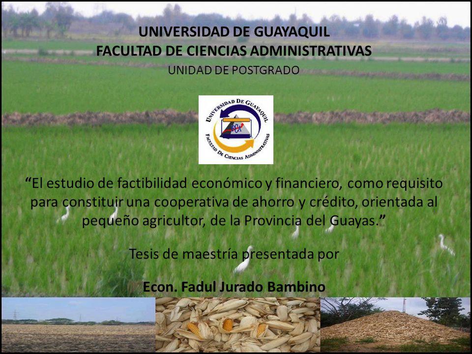 UNIVERSIDAD DE GUAYAQUIL FACULTAD DE CIENCIAS ADMINISTRATIVAS UNIDAD DE POSTGRADO El estudio de factibilidad económico y financiero, como requisito para constituir una cooperativa de ahorro y crédito, orientada al pequeño agricultor, de la Provincia del Guayas.