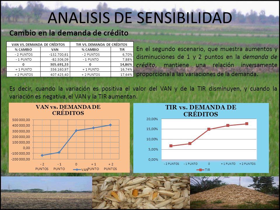 ANALISIS DE SENSIBILIDAD Cambio en la demanda de crédito VAN VS. DEMANDA DE CRÉDITOSTIR VS. DEMANDA DE CRÉDITOS % CAMBIOVAN% CAMBIOTIR - 2 PUNTOS-132.