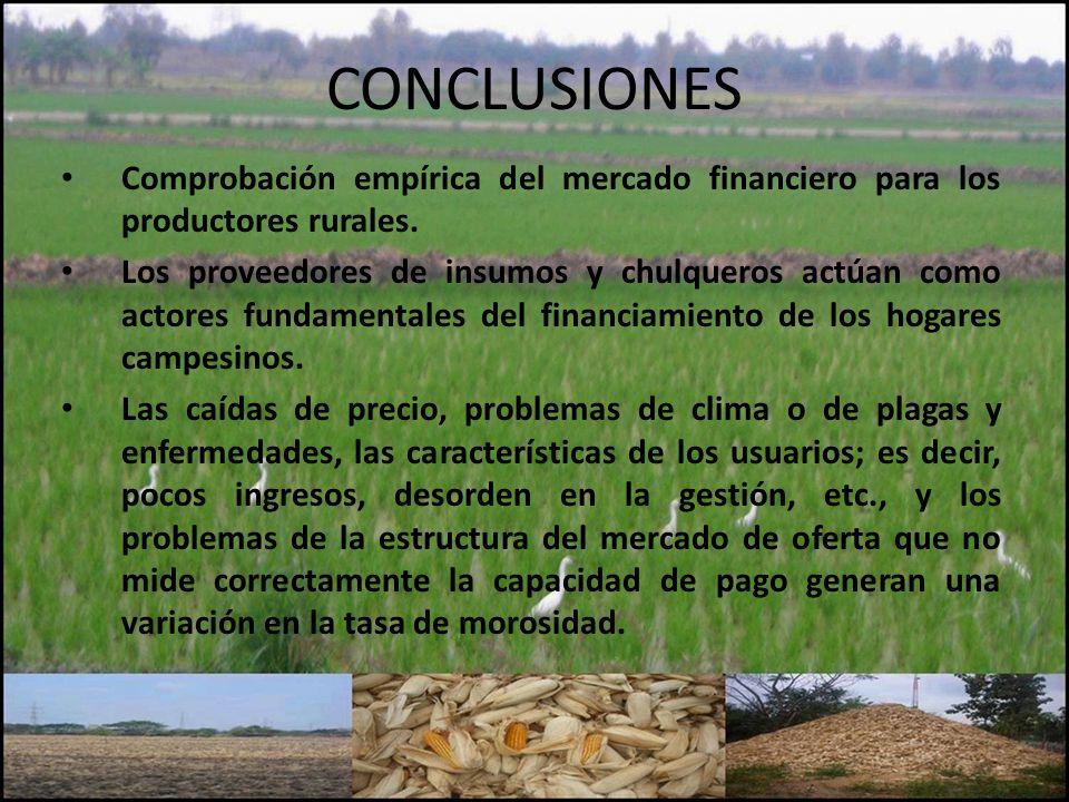 CONCLUSIONES Comprobación empírica del mercado financiero para los productores rurales. Los proveedores de insumos y chulqueros actúan como actores fu