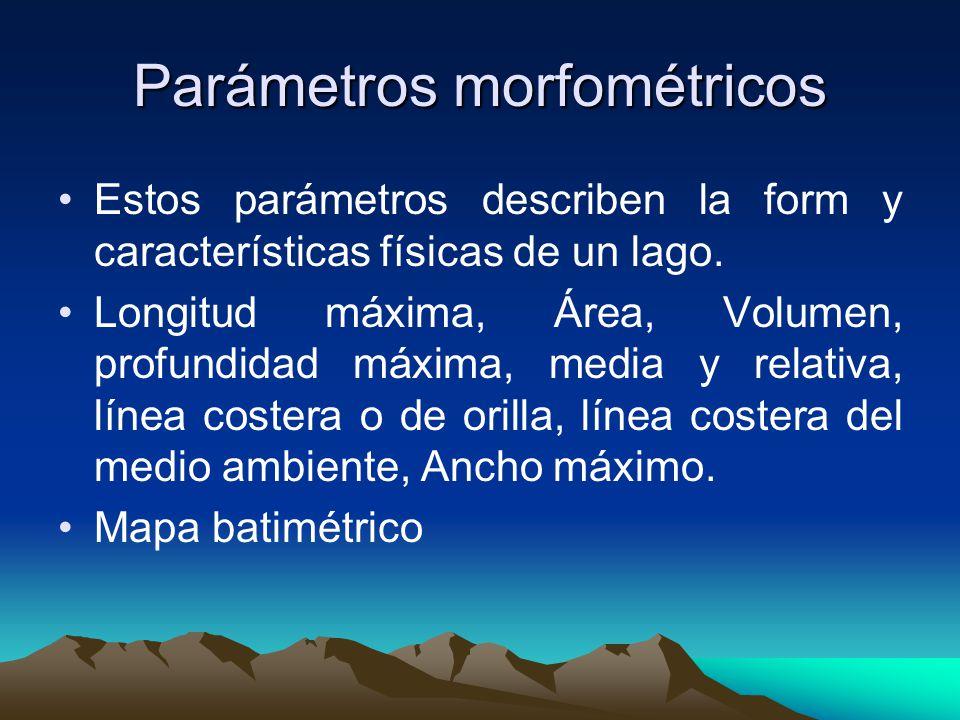 Parámetros morfométricos Longitud Máxima (l): Es la distancia de la superficie de un lago entre los puntos más distantes de la orilla.