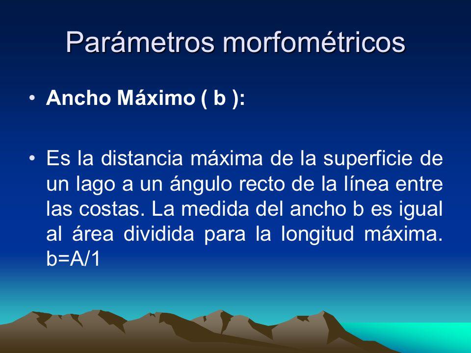 Parámetros morfométricos Área ( A ): El área de la superficie y cada contorno de la profundidad z es mejor determinarla por integración digital o polimetría.