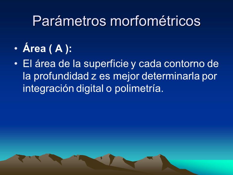Parámetros morfométricos Volumen ( V ): Es la integración de las áreas de cada estratos a profundidades de la superficie en el punto de profundidad máxima.