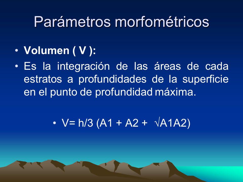Parámetros morfométricos Profundidad Maxima Zm: Es la mayor profundidad de un lago Profundidad media Z: el volumen dividido para el area de superficie.