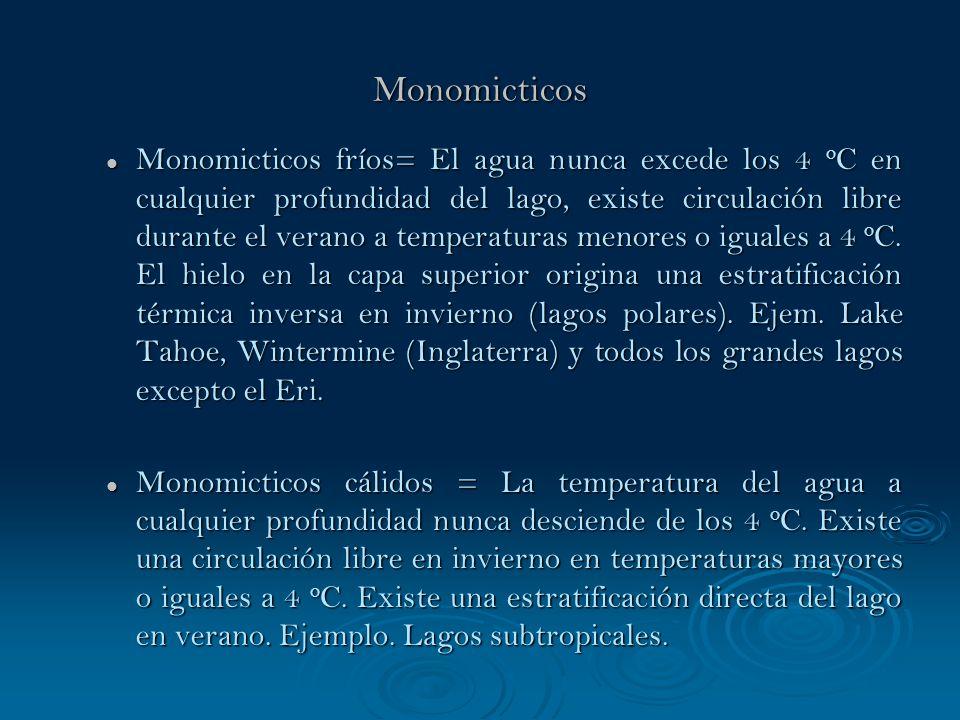 Monomicticos Monomicticos fríos= El agua nunca excede los 4 o C en cualquier profundidad del lago, existe circulación libre durante el verano a temper