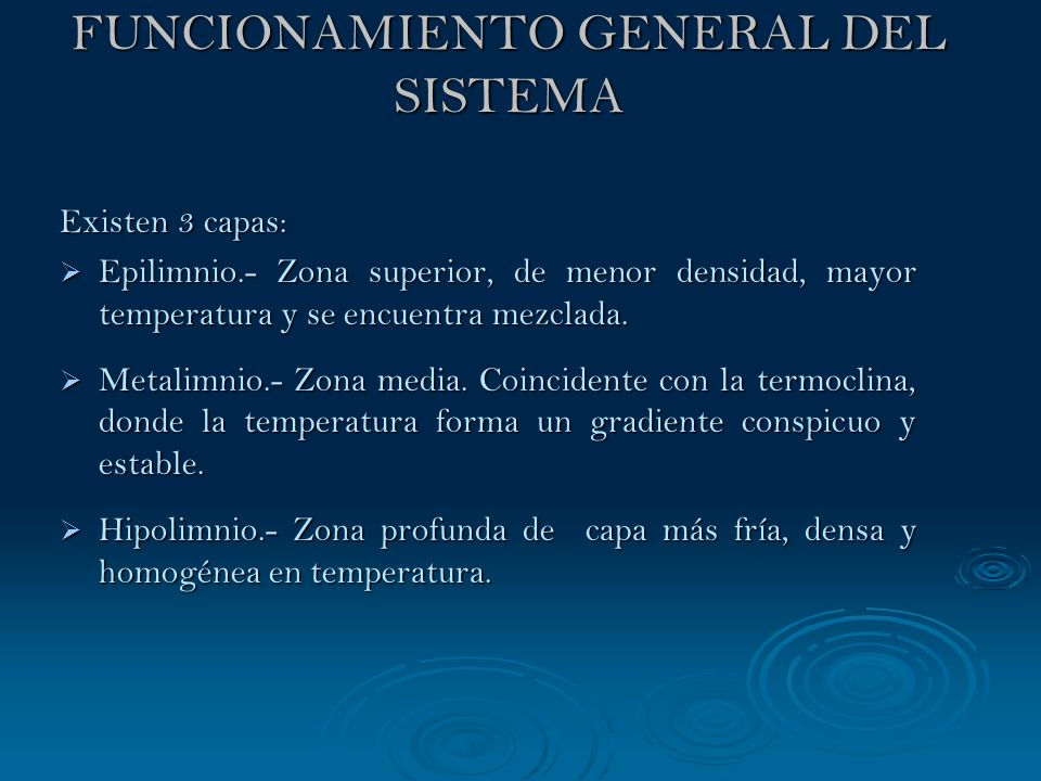 FUNCIONAMIENTO GENERAL DEL SISTEMA Existen 3 capas: Epilimnio.- Zona superior, de menor densidad, mayor temperatura y se encuentra mezclada. Epilimnio