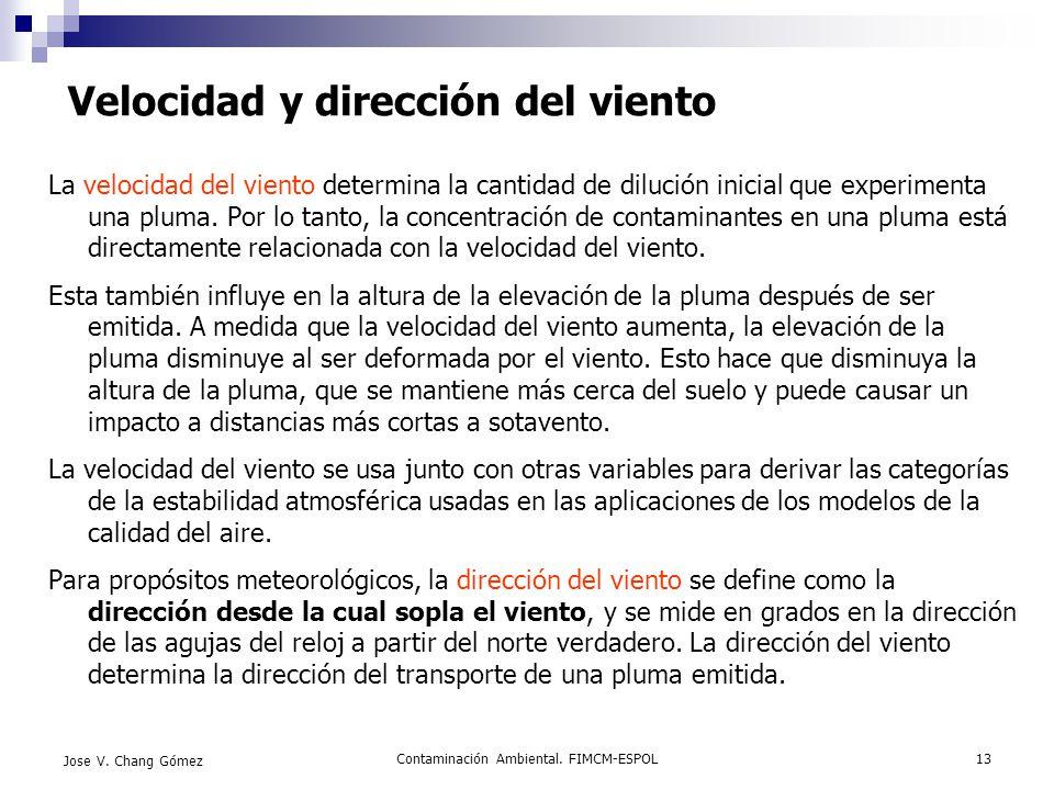 Contaminación Ambiental. FIMCM-ESPOL13 Jose V. Chang Gómez Velocidad y dirección del viento La velocidad del viento determina la cantidad de dilución