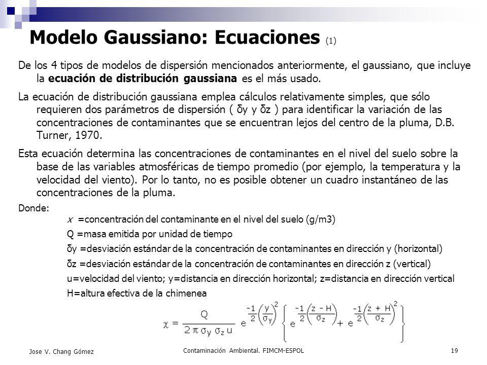 Contaminación Ambiental. FIMCM-ESPOL19 Jose V. Chang Gómez Modelo Gaussiano: Ecuaciones (1) De los 4 tipos de modelos de dispersión mencionados anteri
