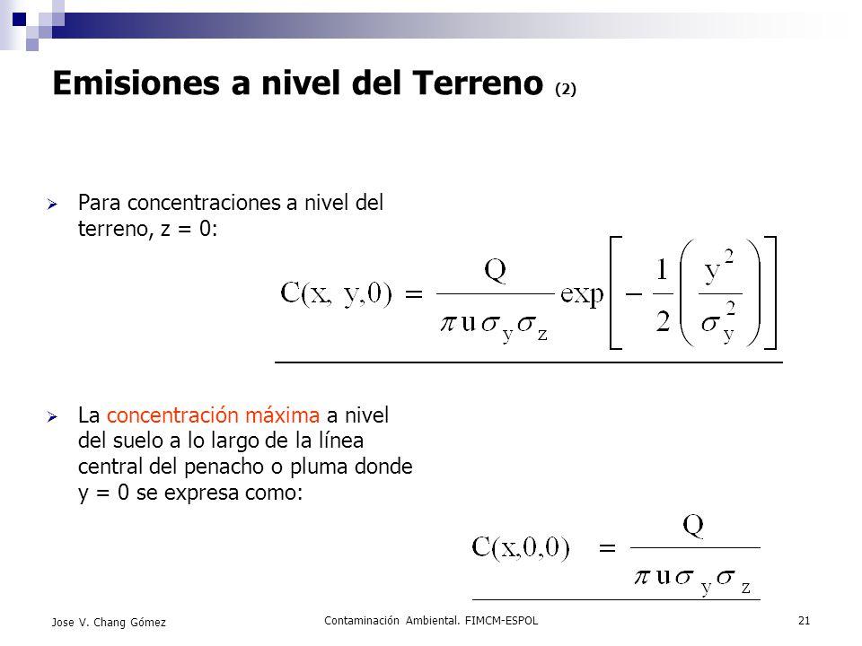 Contaminación Ambiental. FIMCM-ESPOL21 Jose V. Chang Gómez Emisiones a nivel del Terreno (2) Para concentraciones a nivel del terreno, z = 0: La conce