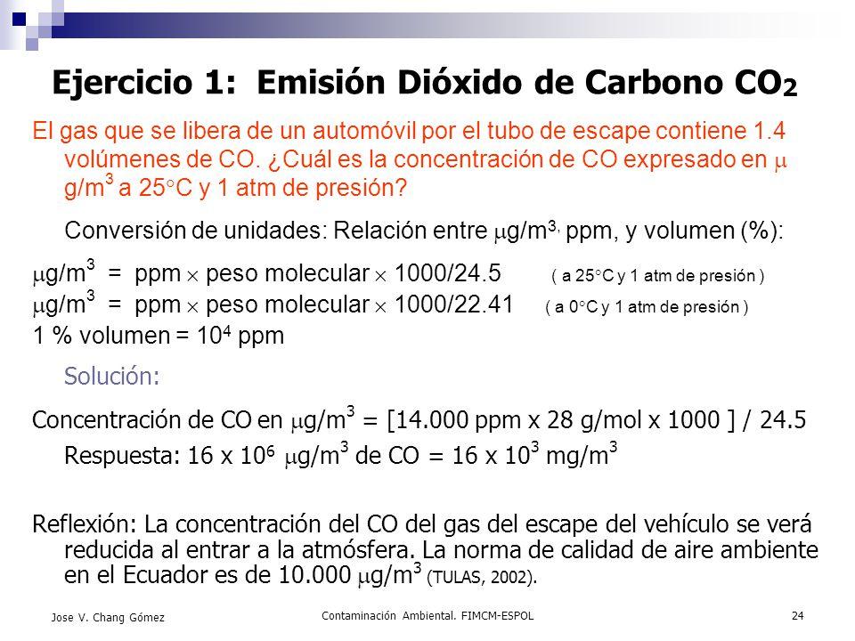 Contaminación Ambiental. FIMCM-ESPOL24 Jose V. Chang Gómez Ejercicio 1: Emisión Dióxido de Carbono CO 2 El gas que se libera de un automóvil por el tu