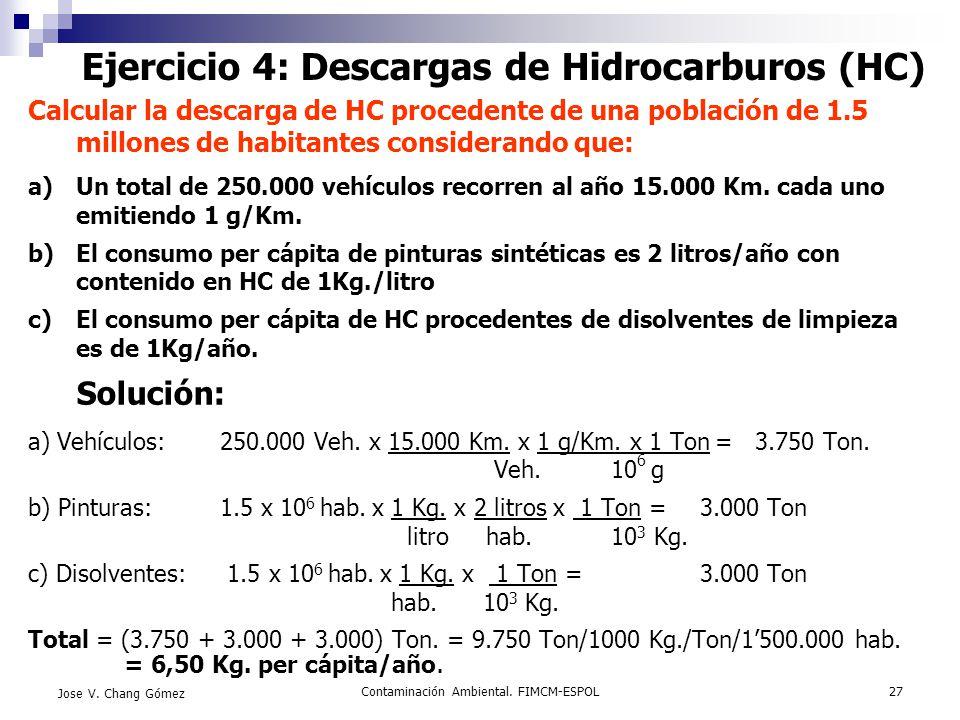 Contaminación Ambiental. FIMCM-ESPOL27 Jose V. Chang Gómez Ejercicio 4: Descargas de Hidrocarburos (HC) Calcular la descarga de HC procedente de una p