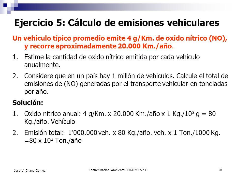 Contaminación Ambiental. FIMCM-ESPOL28 Jose V. Chang Gómez Ejercicio 5: Cálculo de emisiones vehiculares Un vehículo típico promedio emite 4 g/Km. de