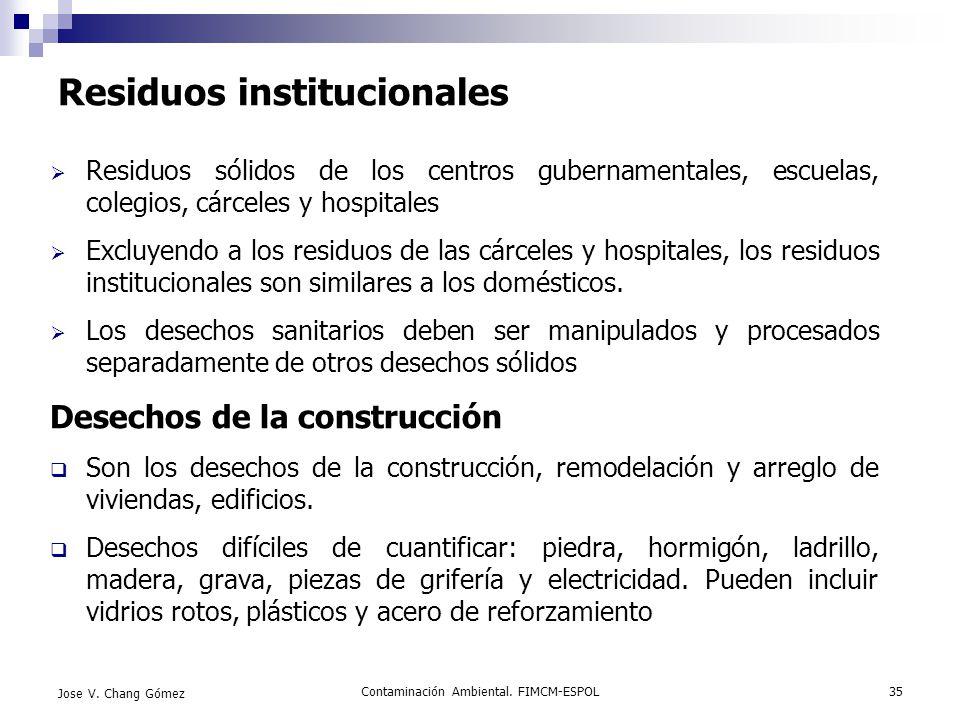 Contaminación Ambiental. FIMCM-ESPOL35 Jose V. Chang Gómez Residuos institucionales Residuos sólidos de los centros gubernamentales, escuelas, colegio