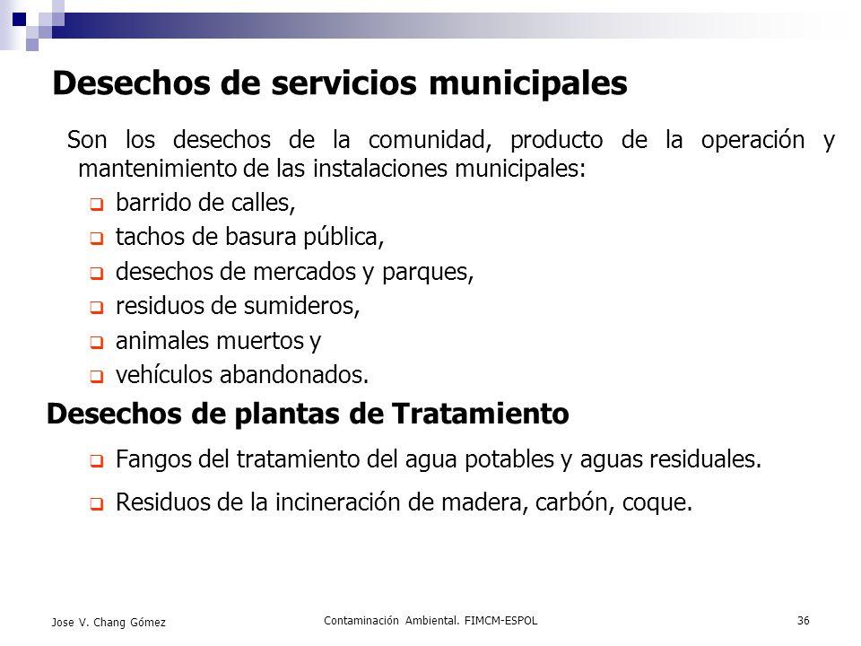 Contaminación Ambiental. FIMCM-ESPOL36 Jose V. Chang Gómez Desechos de servicios municipales Son los desechos de la comunidad, producto de la operació