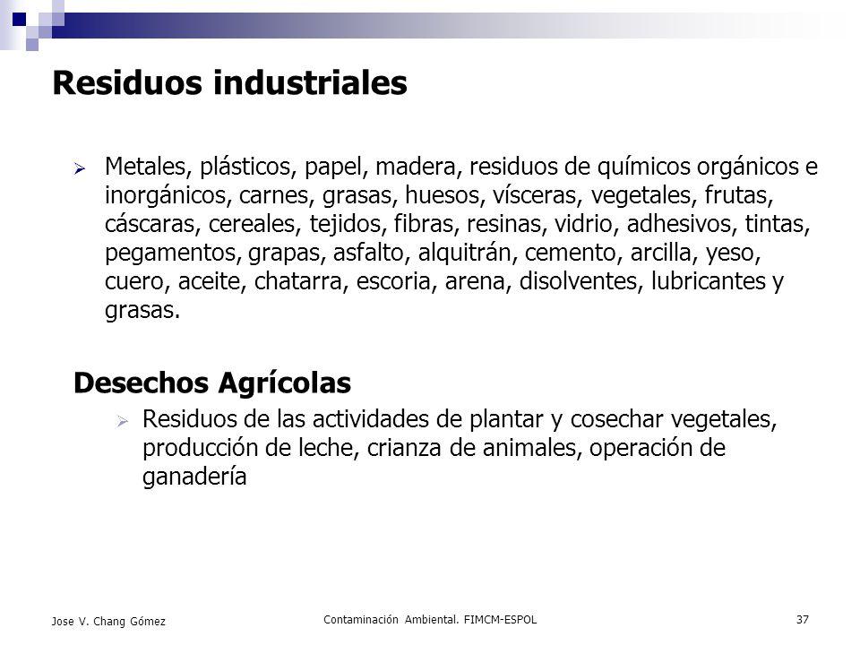 Contaminación Ambiental. FIMCM-ESPOL37 Jose V. Chang Gómez Residuos industriales Metales, plásticos, papel, madera, residuos de químicos orgánicos e i
