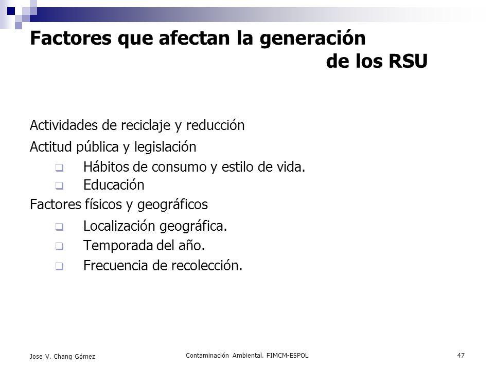 Contaminación Ambiental. FIMCM-ESPOL47 Jose V. Chang Gómez Factores que afectan la generación de los RSU Actividades de reciclaje y reducción Actitud
