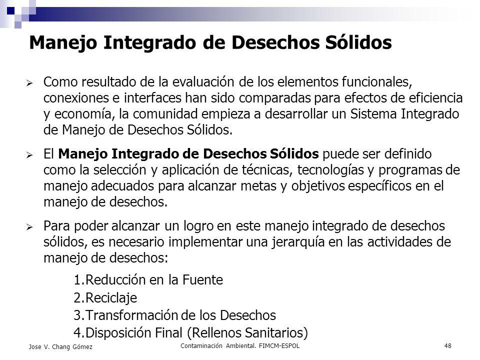 Contaminación Ambiental. FIMCM-ESPOL48 Jose V. Chang Gómez Manejo Integrado de Desechos Sólidos Como resultado de la evaluación de los elementos funci