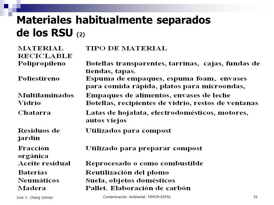 Contaminación Ambiental. FIMCM-ESPOL51 Jose V. Chang Gómez Materiales habitualmente separados de los RSU (2)
