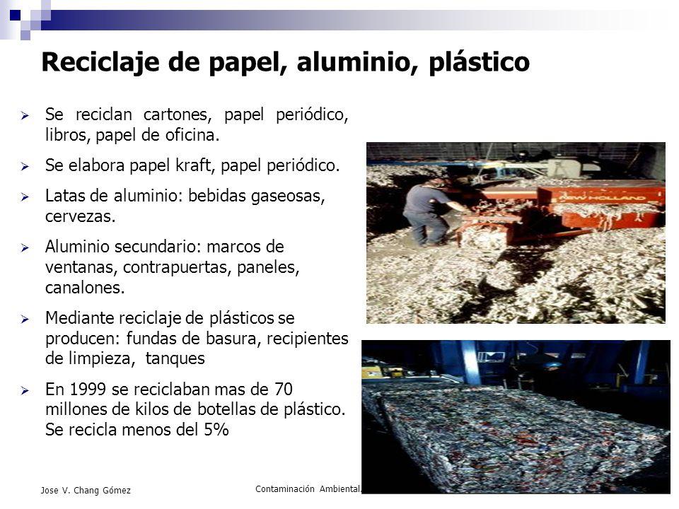 Contaminación Ambiental. FIMCM-ESPOL52 Jose V. Chang Gómez Reciclaje de papel, aluminio, plástico Se reciclan cartones, papel periódico, libros, papel