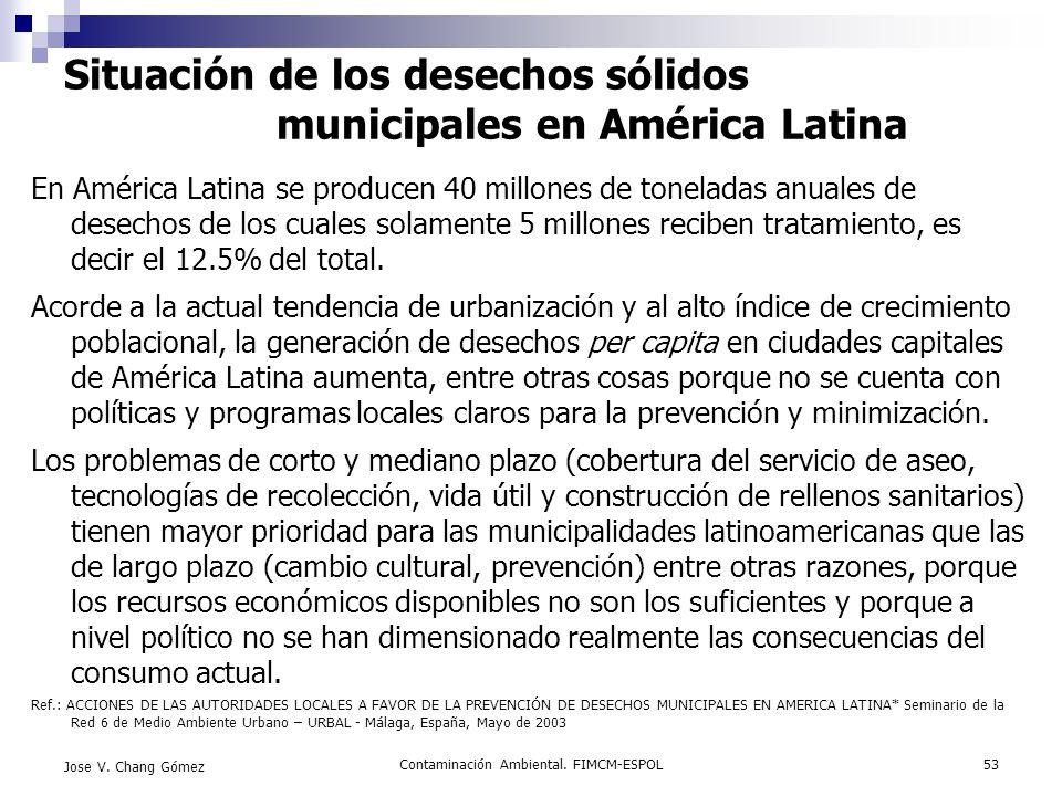 Contaminación Ambiental. FIMCM-ESPOL53 Jose V. Chang Gómez Situación de los desechos sólidos municipales en América Latina En América Latina se produc
