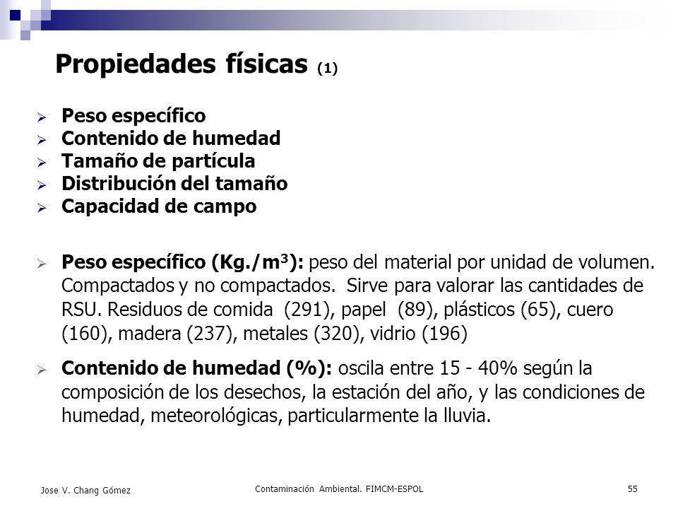 Contaminación Ambiental. FIMCM-ESPOL55 Jose V. Chang Gómez Propiedades físicas (1) Peso específico Contenido de humedad Tamaño de partícula Distribuci