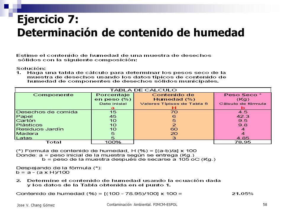 Contaminación Ambiental. FIMCM-ESPOL58 Jose V. Chang Gómez Ejercicio 7: Determinación de contenido de humedad