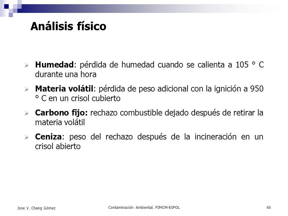 Contaminación Ambiental. FIMCM-ESPOL60 Jose V. Chang Gómez Análisis físico Humedad: pérdida de humedad cuando se calienta a 105 ° C durante una hora M