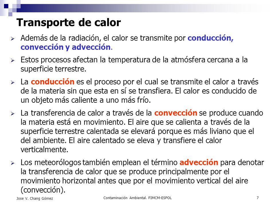 Contaminación Ambiental. FIMCM-ESPOL7 Jose V. Chang Gómez Transporte de calor Además de la radiación, el calor se transmite por conducción, convección