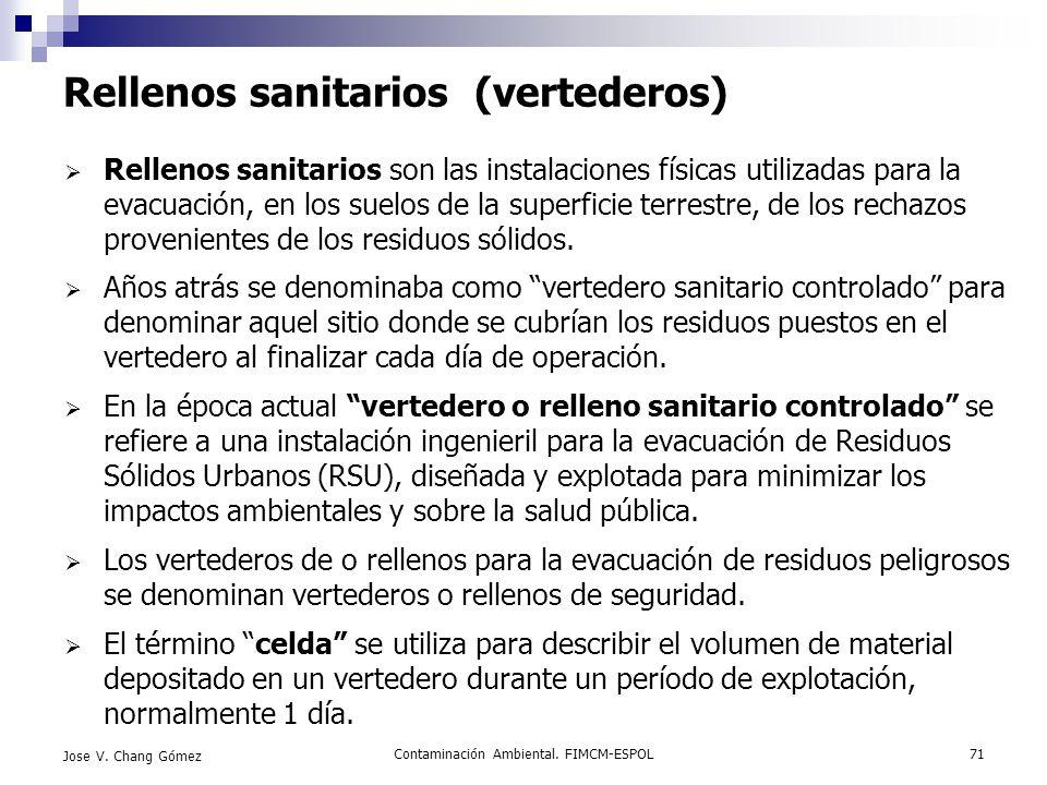 Contaminación Ambiental. FIMCM-ESPOL71 Jose V. Chang Gómez Rellenos sanitarios (vertederos) Rellenos sanitarios son las instalaciones físicas utilizad