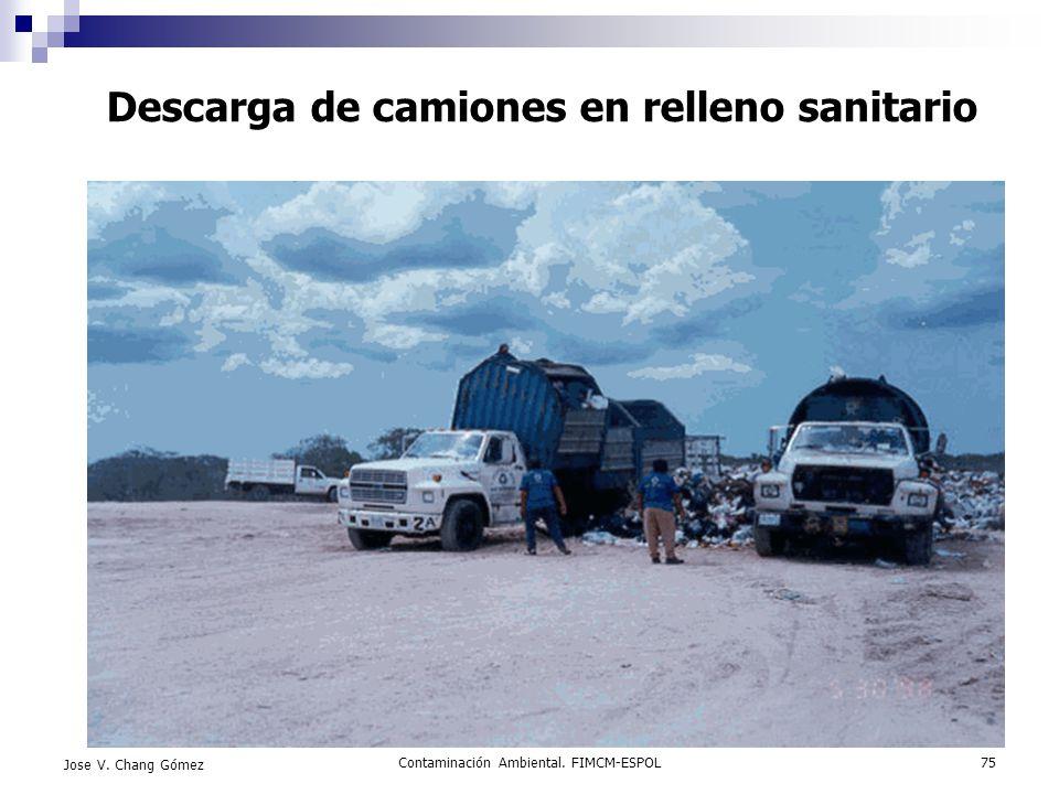 Contaminación Ambiental. FIMCM-ESPOL75 Jose V. Chang Gómez Descarga de camiones en relleno sanitario