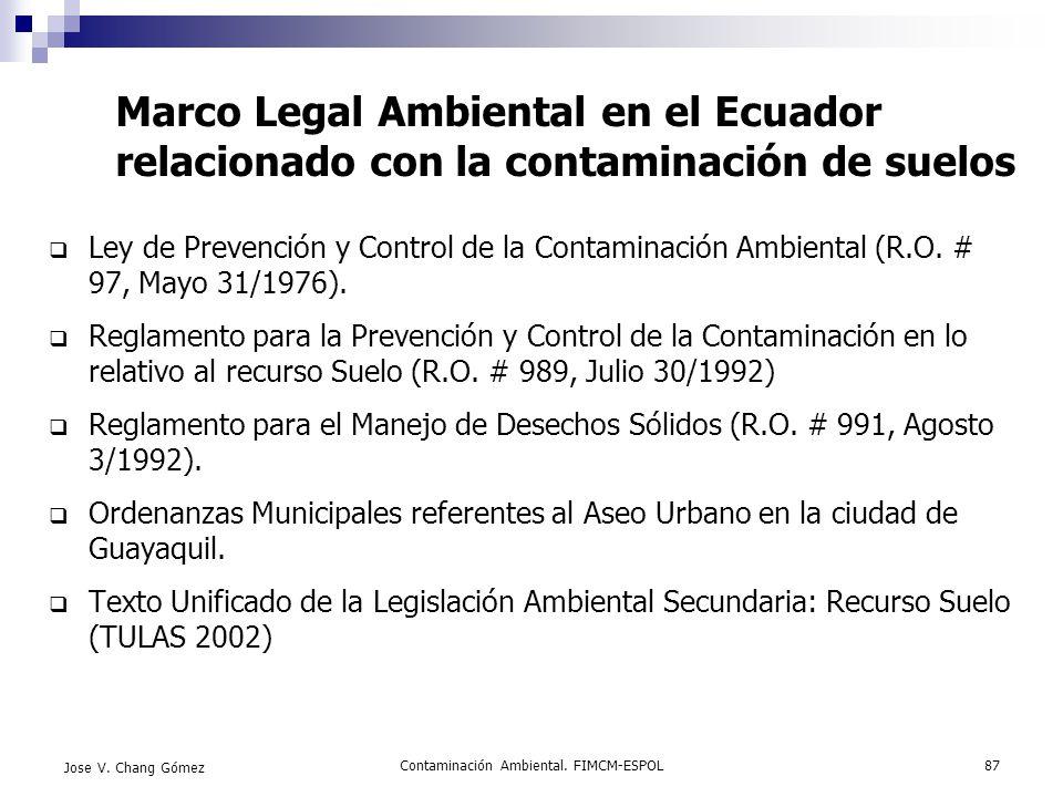 Contaminación Ambiental. FIMCM-ESPOL87 Jose V. Chang Gómez Marco Legal Ambiental en el Ecuador relacionado con la contaminación de suelos Ley de Preve