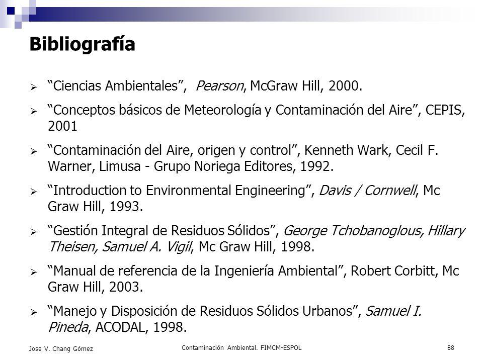 Contaminación Ambiental. FIMCM-ESPOL88 Jose V. Chang Gómez Bibliografía Ciencias Ambientales, Pearson, McGraw Hill, 2000. Conceptos básicos de Meteoro