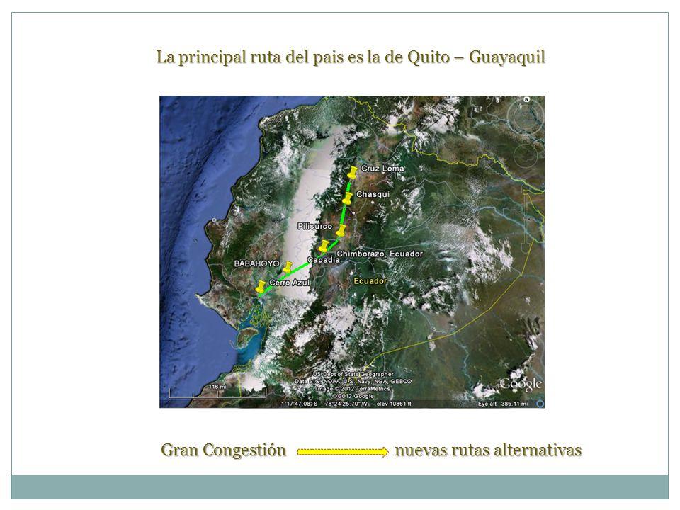 La principal ruta del pais es la de Quito – Guayaquil Gran Congestión nuevas rutas alternativas