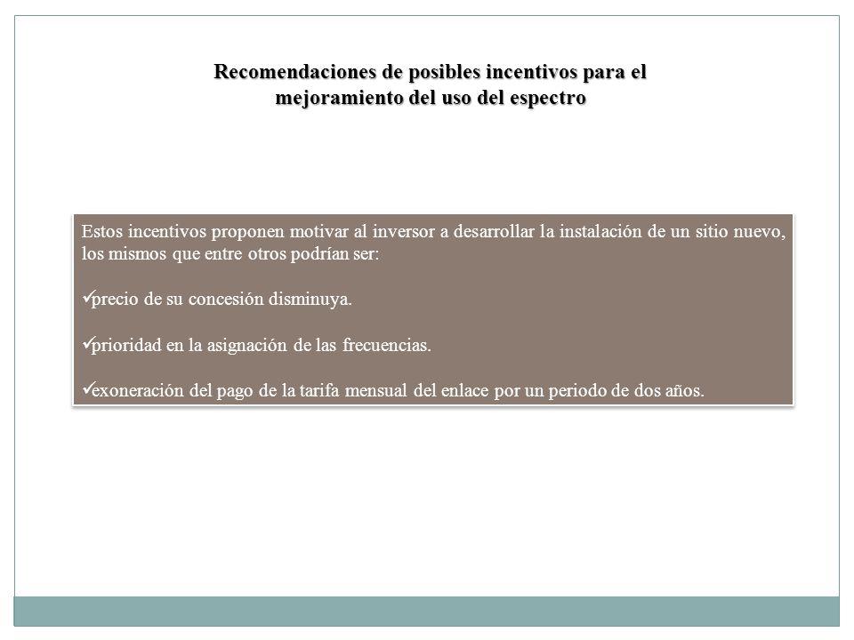 Recomendaciones de posibles incentivos para el mejoramiento del uso del espectro Estos incentivos proponen motivar al inversor a desarrollar la instal