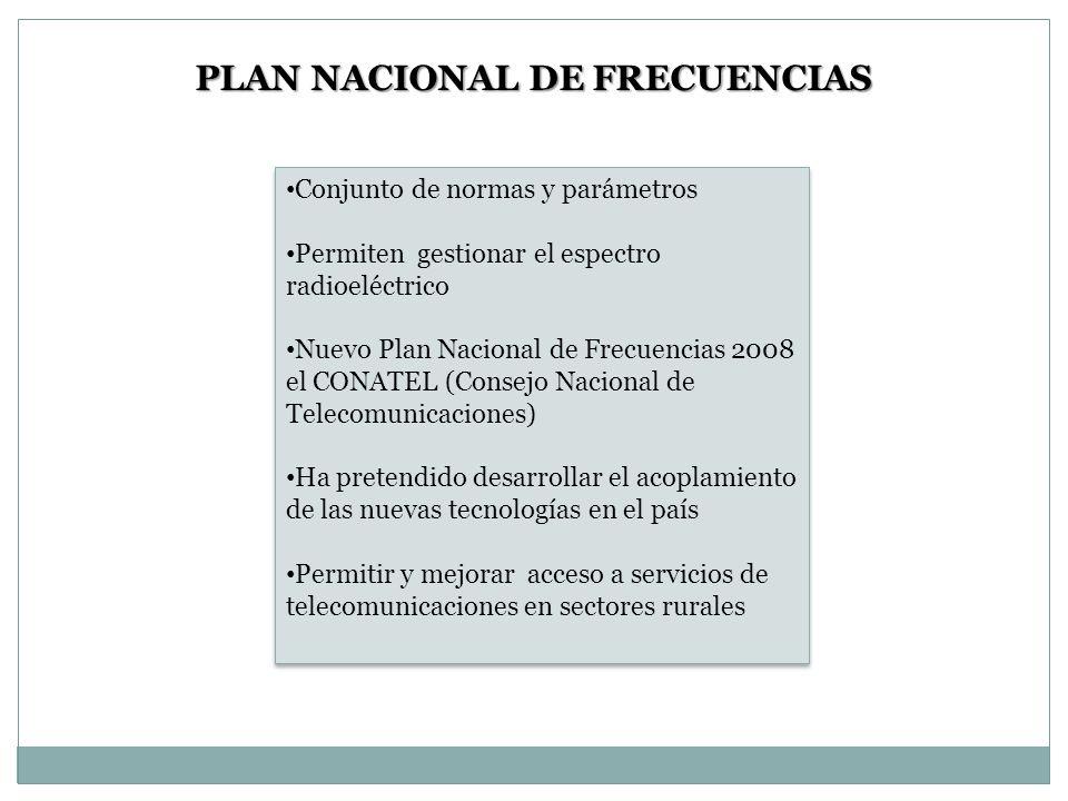PLAN NACIONAL DE FRECUENCIAS Conjunto de normas y parámetros Permiten gestionar el espectro radioeléctrico Nuevo Plan Nacional de Frecuencias 2008 el