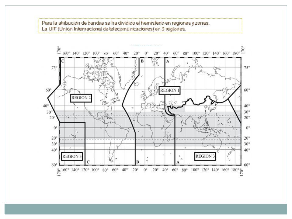 Para la atribución de bandas se ha dividido el hemisferio en regiones y zonas. La UIT (Unión Internacional de telecomunicaciones) en 3 regiones.