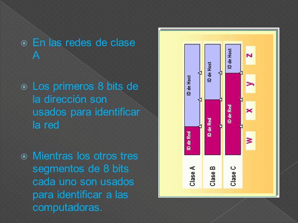 En las redes de clase A Los primeros 8 bits de la dirección son usados para identificar la red Mientras los otros tres segmentos de 8 bits cada uno son usados para identificar a las computadoras.
