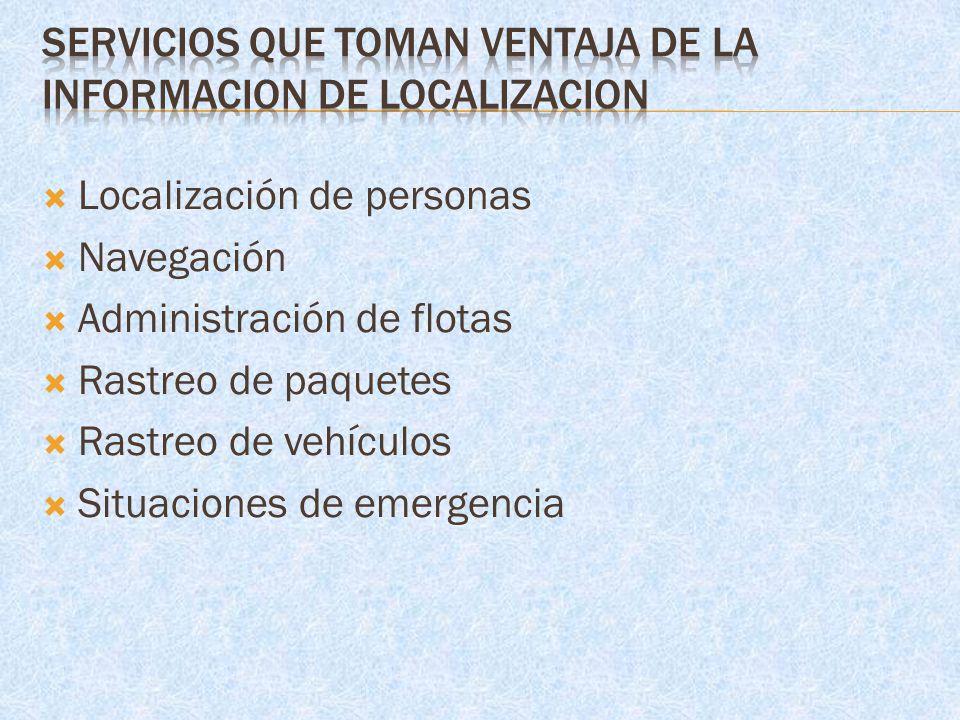 Localización de personas Navegación Administración de flotas Rastreo de paquetes Rastreo de vehículos Situaciones de emergencia