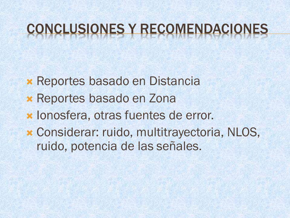 Reportes basado en Distancia Reportes basado en Zona Ionosfera, otras fuentes de error. Considerar: ruido, multitrayectoria, NLOS, ruido, potencia de