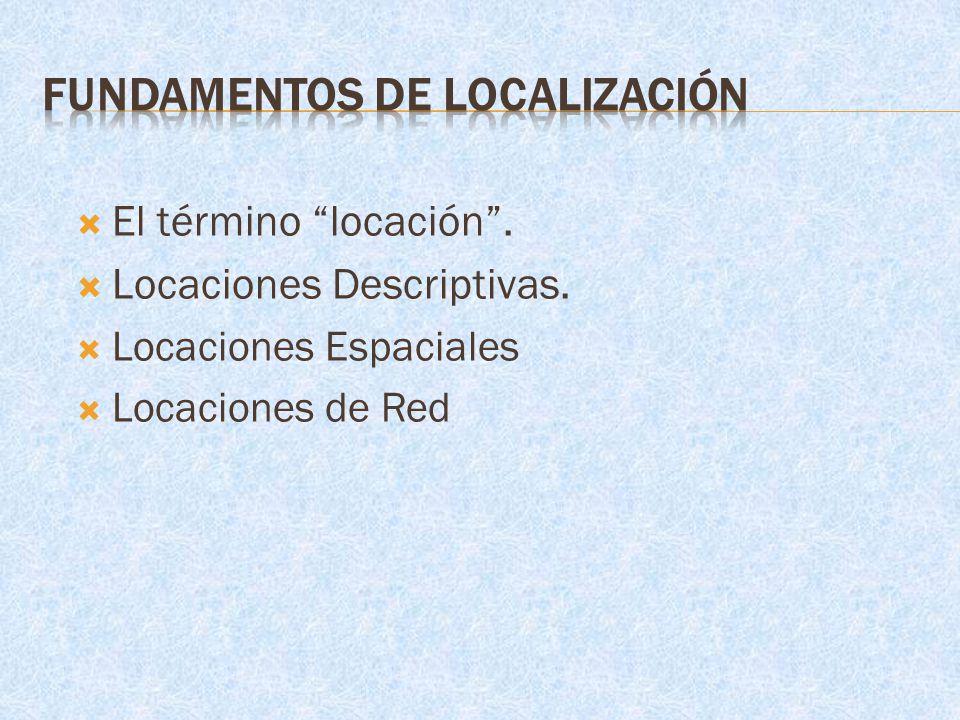 El término locación. Locaciones Descriptivas. Locaciones Espaciales Locaciones de Red