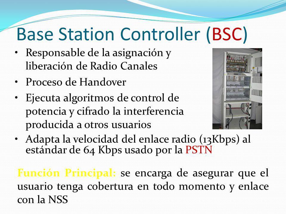 Base Station Controller (BSC) Adapta la velocidad del enlace radio (13Kbps) al estándar de 64 Kbps usado por la PSTN Función Principal: se encarga de
