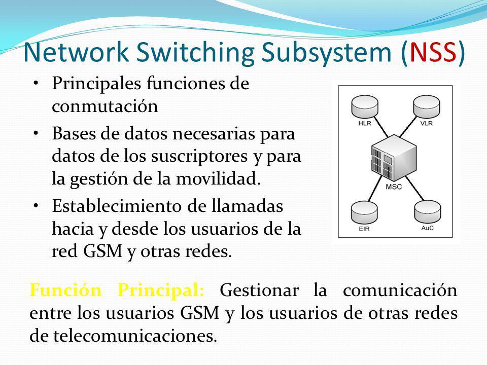 Network Switching Subsystem (NSS) Principales funciones de conmutación Bases de datos necesarias para datos de los suscriptores y para la gestión de l