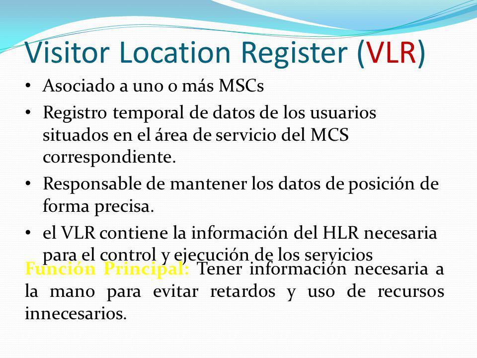 Visitor Location Register (VLR) Asociado a uno o más MSCs Registro temporal de datos de los usuarios situados en el área de servicio del MCS correspon