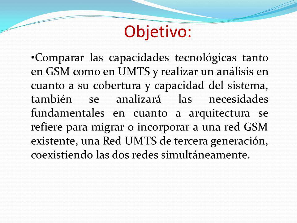 Objetivo: Comparar las capacidades tecnológicas tanto en GSM como en UMTS y realizar un análisis en cuanto a su cobertura y capacidad del sistema, tam