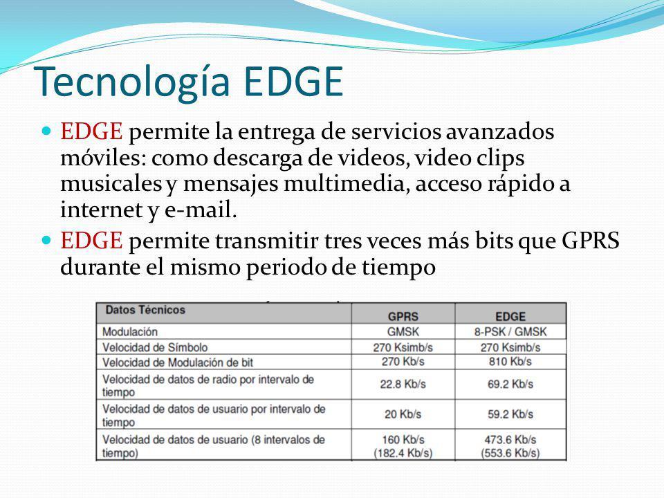 Tecnología EDGE EDGE permite la entrega de servicios avanzados móviles: como descarga de videos, video clips musicales y mensajes multimedia, acceso r
