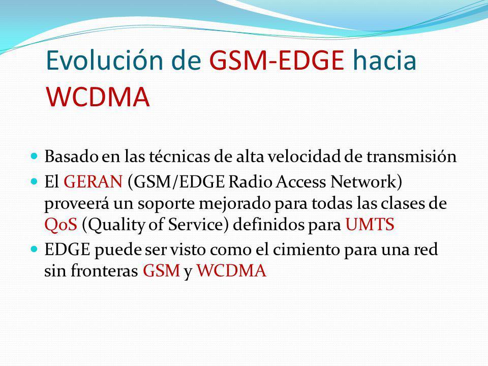 Evolución de GSM-EDGE hacia WCDMA Basado en las técnicas de alta velocidad de transmisión El GERAN (GSM/EDGE Radio Access Network) proveerá un soporte