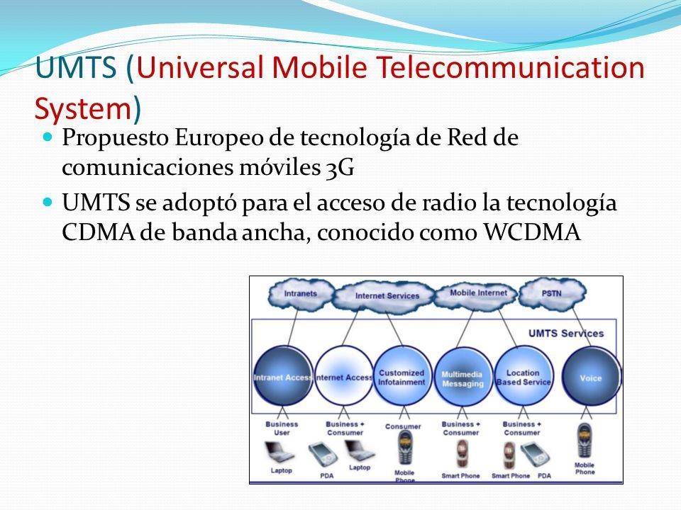 UMTS (Universal Mobile Telecommunication System) Propuesto Europeo de tecnología de Red de comunicaciones móviles 3G UMTS se adoptó para el acceso de