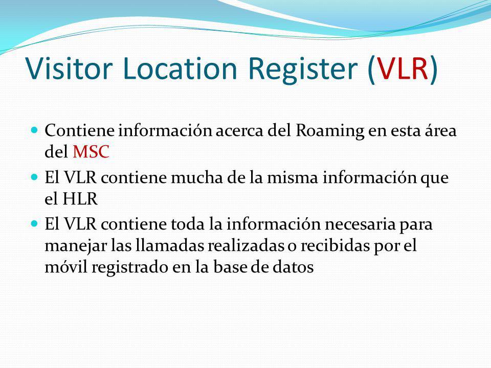 Visitor Location Register (VLR) Contiene información acerca del Roaming en esta área del MSC El VLR contiene mucha de la misma información que el HLR