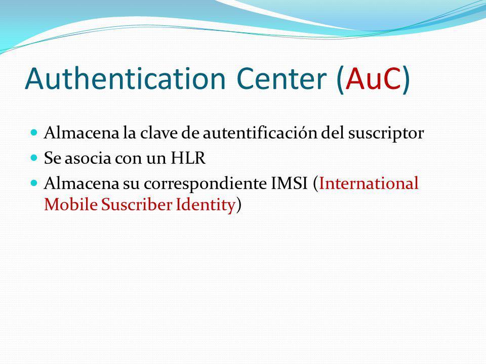 Authentication Center (AuC) Almacena la clave de autentificación del suscriptor Se asocia con un HLR Almacena su correspondiente IMSI (International M
