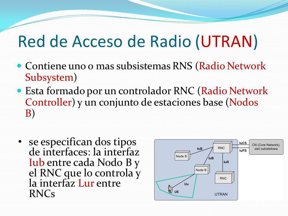 Red de Acceso de Radio (UTRAN) Contiene uno o mas subsistemas RNS (Radio Network Subsystem) Esta formado por un controlador RNC (Radio Network Control