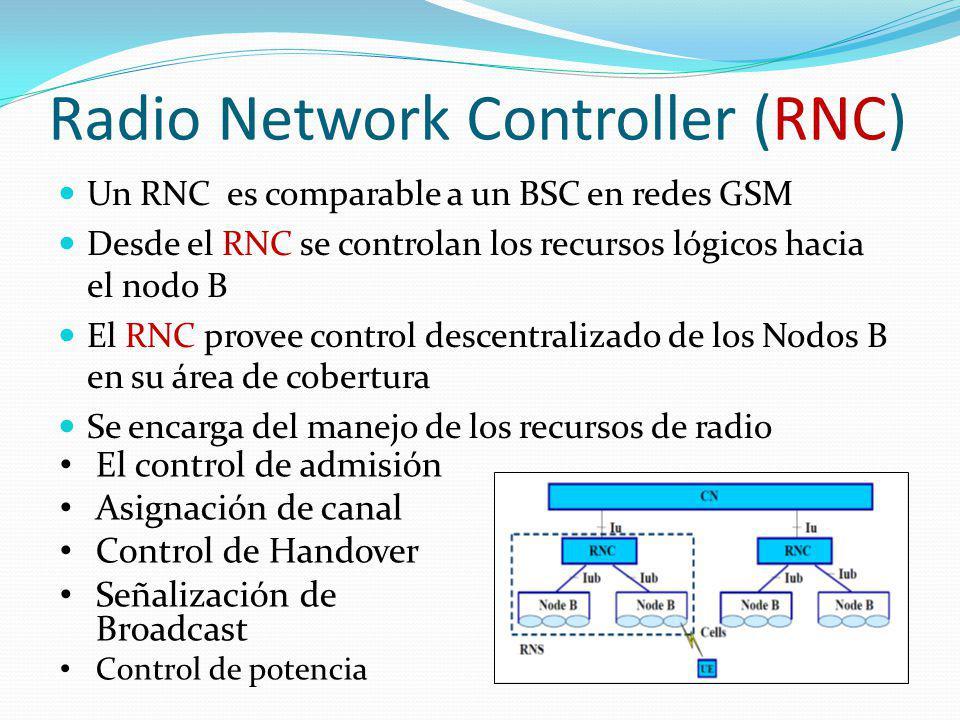 Radio Network Controller (RNC) Un RNC es comparable a un BSC en redes GSM Desde el RNC se controlan los recursos lógicos hacia el nodo B El RNC provee